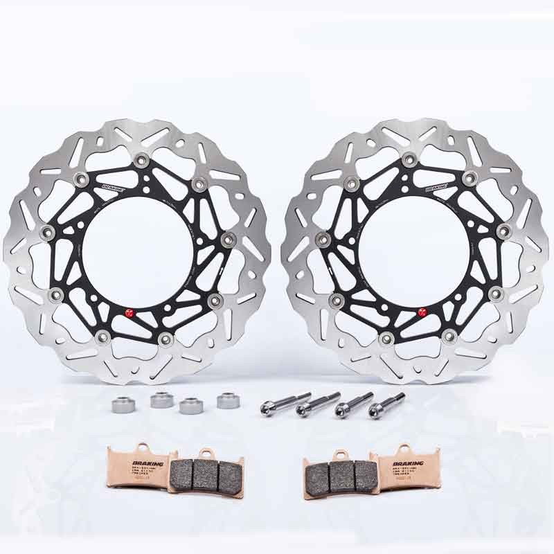 BRAKING WAVE SK2 320MM OVERSIZE FRONT BRAKE DISCS KIT, SPACERS, PADS AND BOLTS FOR YAMAHA XP T-MAX 560 20-21
